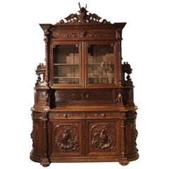 Large Antique French Carved Oak Buffet de Chasse, circa 1880