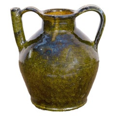 Large Antique French Cruche Orjol or Water Jug with Rare Green Glaze