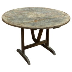 Large Antique French Distressed Oak Tilt-Top Vendage Table