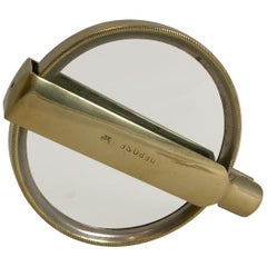 Large Antique French Folding Brass Magnifying Glass, circa 1900