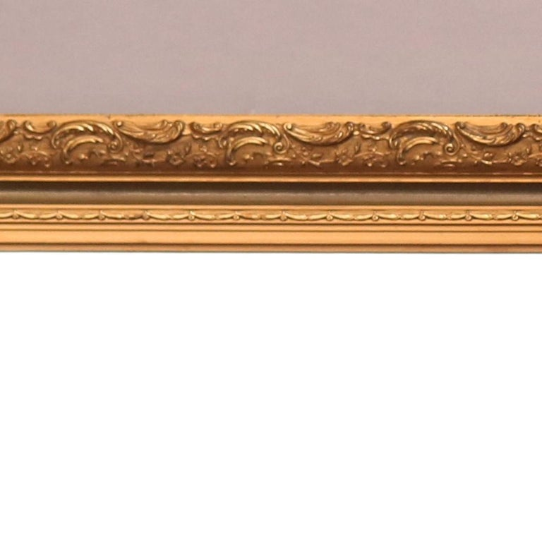 Large Antique French Foliate Giltwood Framed Wall Mirror, c1920 In Good Condition For Sale In Big Flats, NY