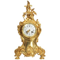 Large Antique French Gilt Bronze Rococo Clock by Louis Japy and Henri Riondet