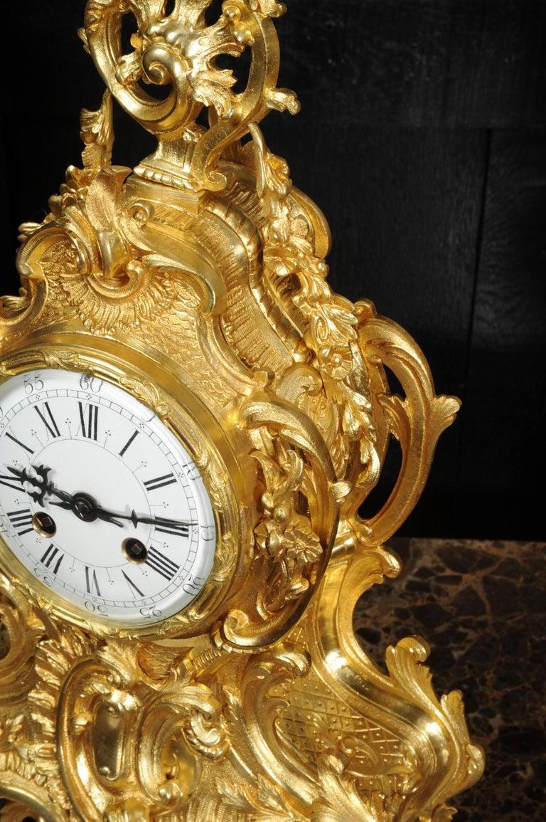 Large Antique French Gilt Bronze Rococo Clock Set 7