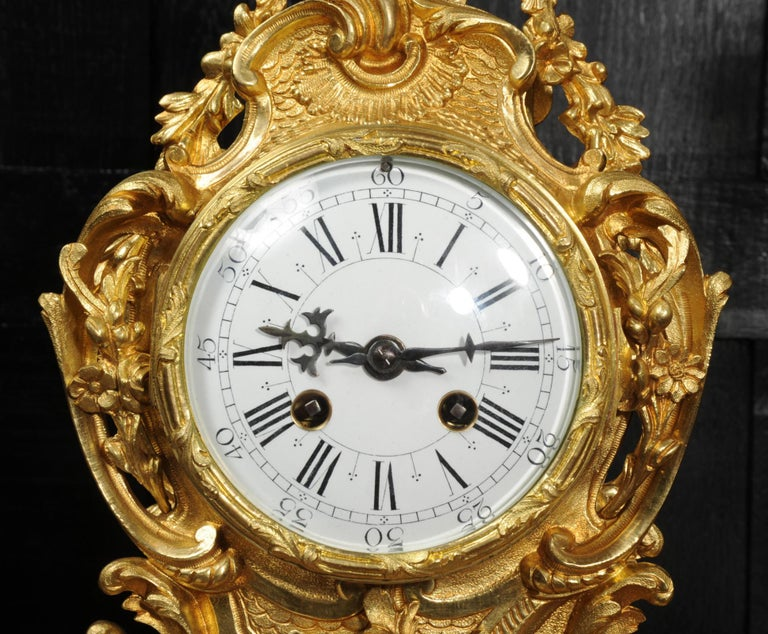 Large Antique French Gilt Bronze Rococo Clock Set 8