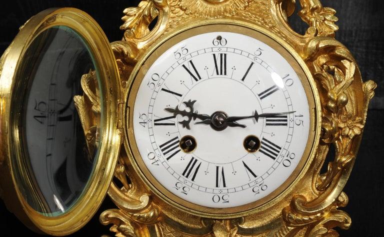 Large Antique French Gilt Bronze Rococo Clock Set 9
