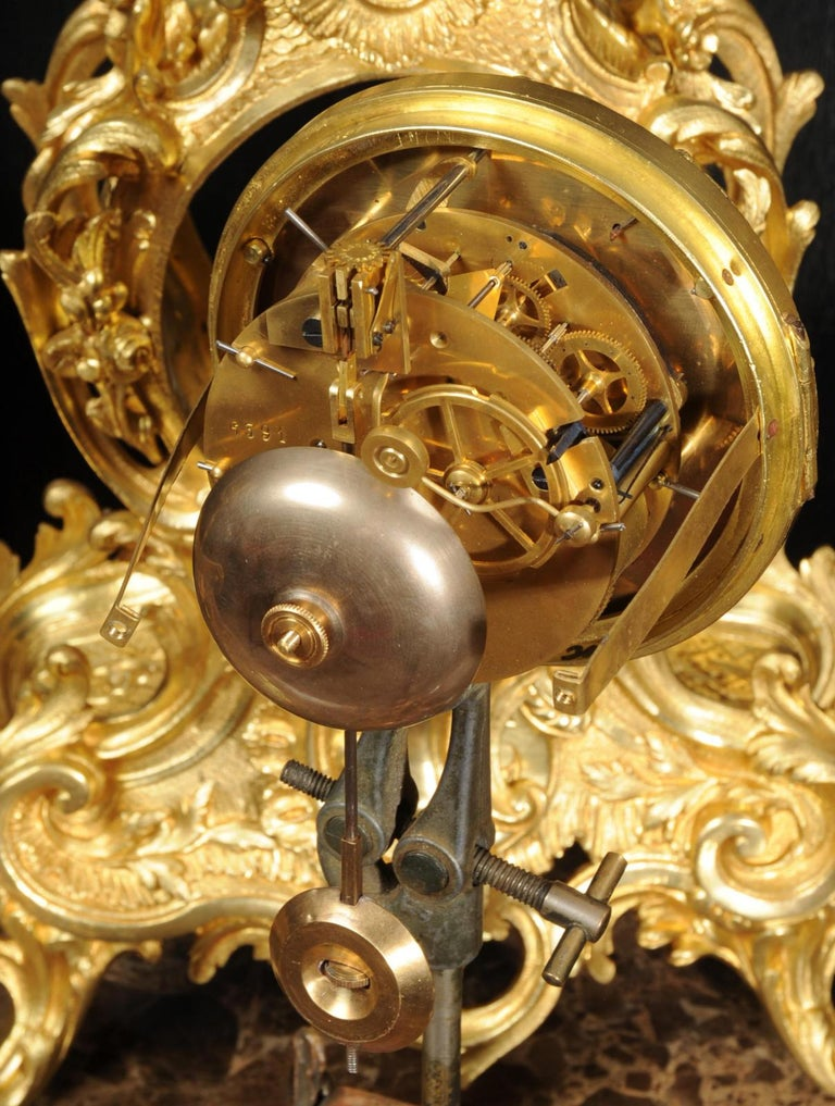 Large Antique French Gilt Bronze Rococo Clock Set 11