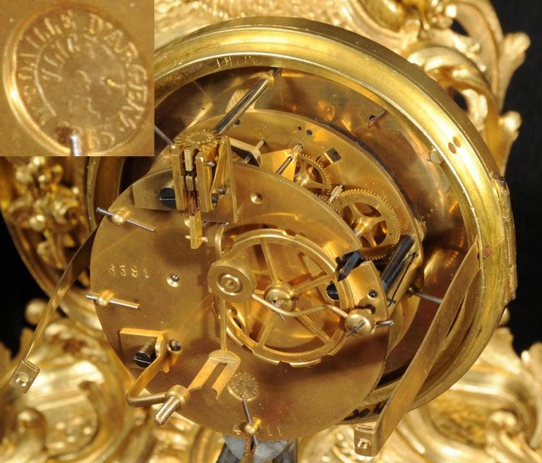 Large Antique French Gilt Bronze Rococo Clock Set 12