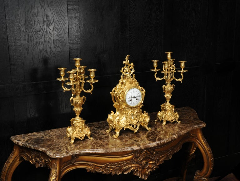 Large Antique French Gilt Bronze Rococo Clock Set In Good Condition In Belper, Derbyshire