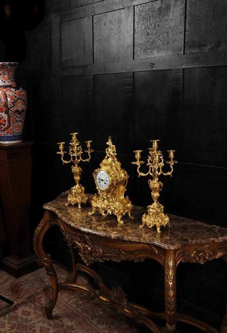 19th Century Large Antique French Gilt Bronze Rococo Clock Set