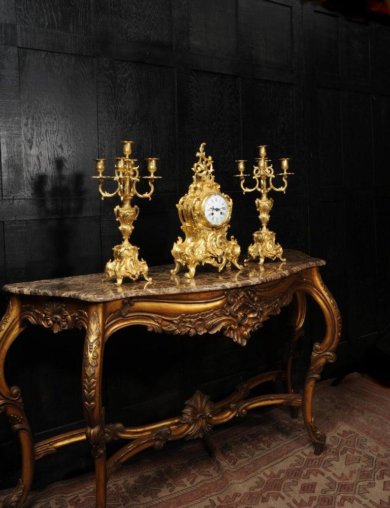 Large Antique French Gilt Bronze Rococo Clock Set 1