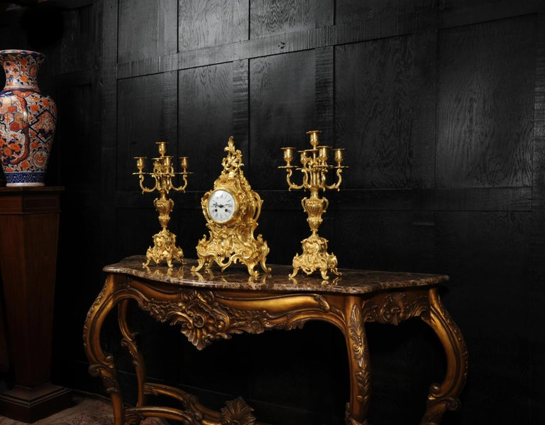 Large Antique French Gilt Bronze Rococo Clock Set 2