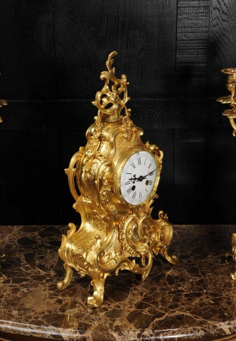 Large Antique French Gilt Bronze Rococo Clock Set 3
