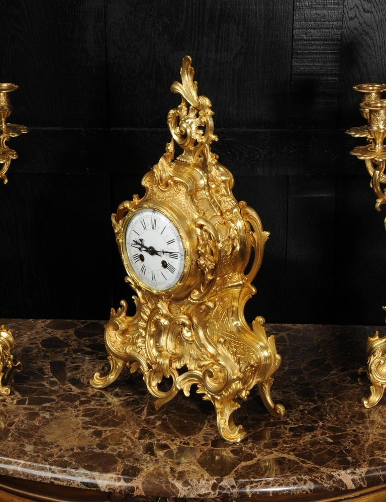 Large Antique French Gilt Bronze Rococo Clock Set 4