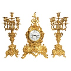 Large Antique French Gilt Bronze Rococo Clock Set
