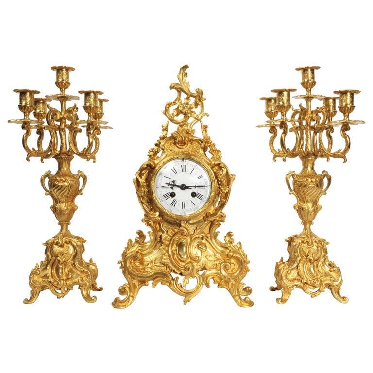 Large Antique French Gilt Bronze Rococo Clock Set