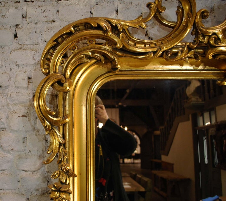 19th Century Large Antique French Gilt Louis Philippe Mirror with Putti For Sale