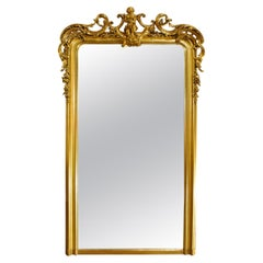 Large Antique French Gilt Louis Philippe Mirror with Putti