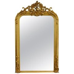 Large Antique French Gold Gilt Louis Philippe Mirror with Ornate Crest