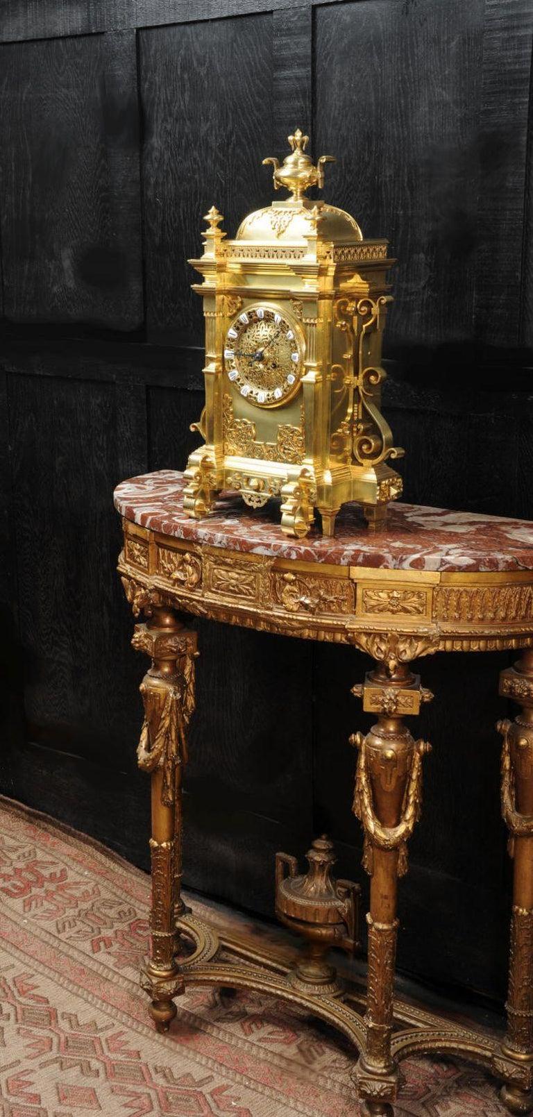 Large Antique French Gothic Gilt Bronze Clock 6