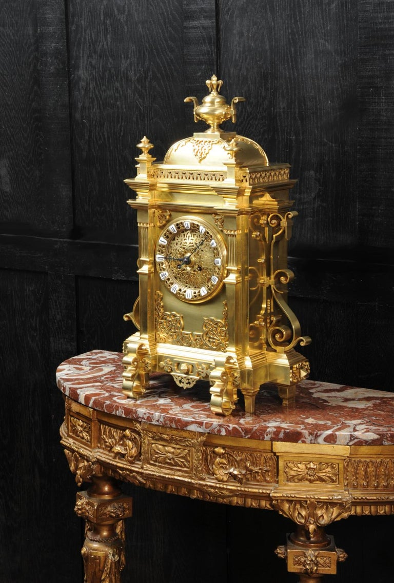 Large Antique French Gothic Gilt Bronze Clock 7