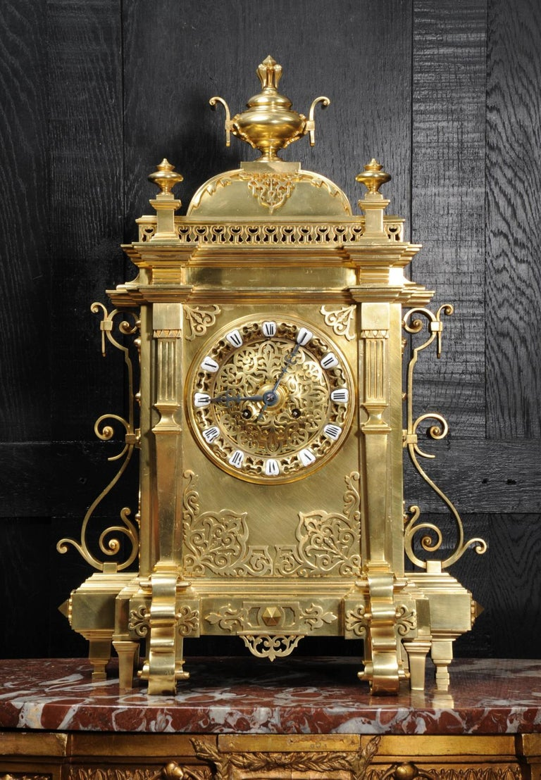 Large Antique French Gothic Gilt Bronze Clock 8
