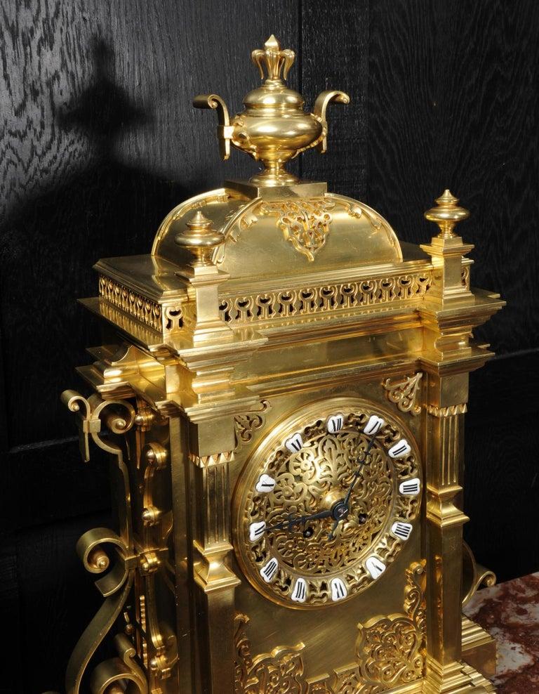 Large Antique French Gothic Gilt Bronze Clock 10