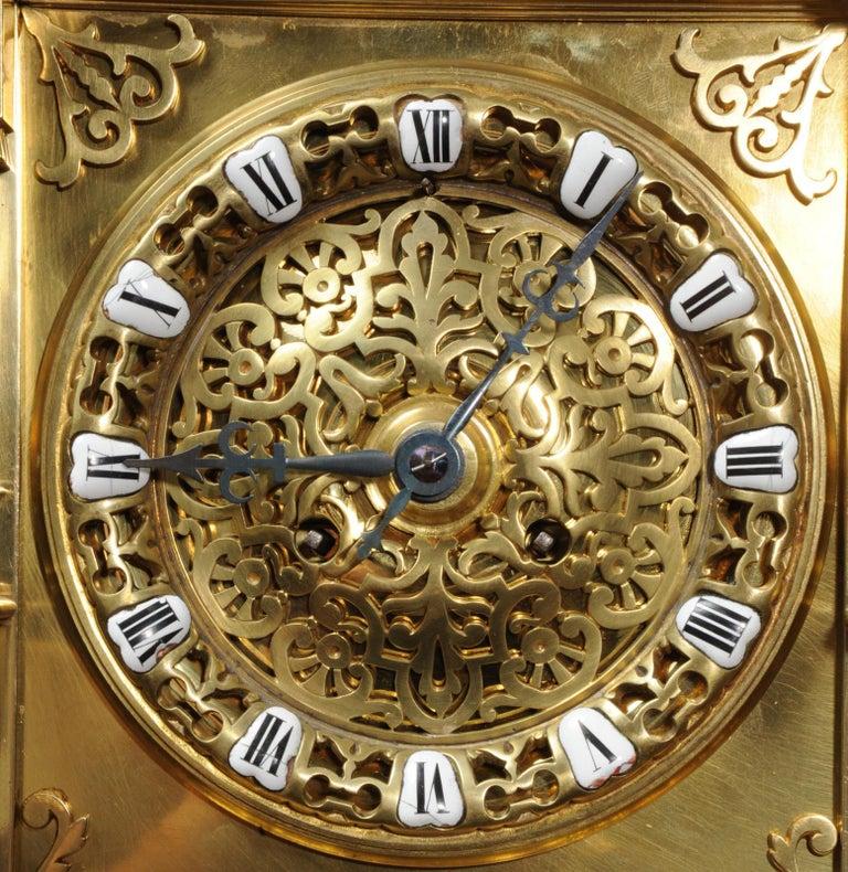 Large Antique French Gothic Gilt Bronze Clock 12