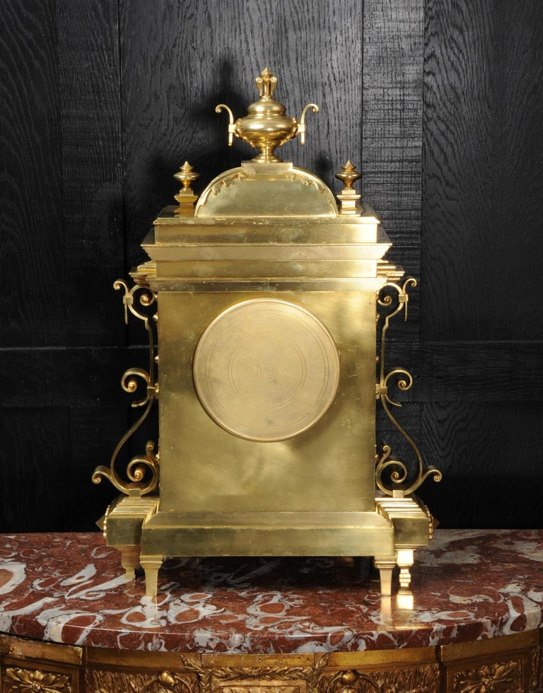 Large Antique French Gothic Gilt Bronze Clock 13