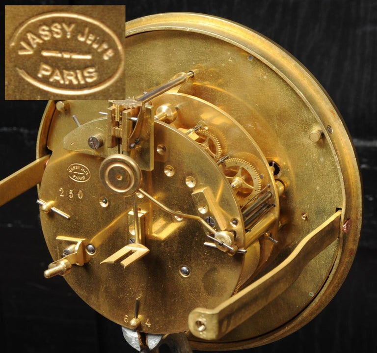 Large Antique French Gothic Gilt Bronze Clock 15
