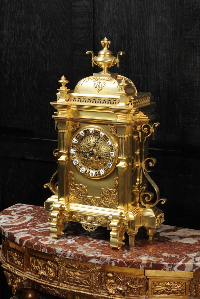 Large Antique French Gothic Gilt Bronze Clock In Good Condition In Belper, Derbyshire