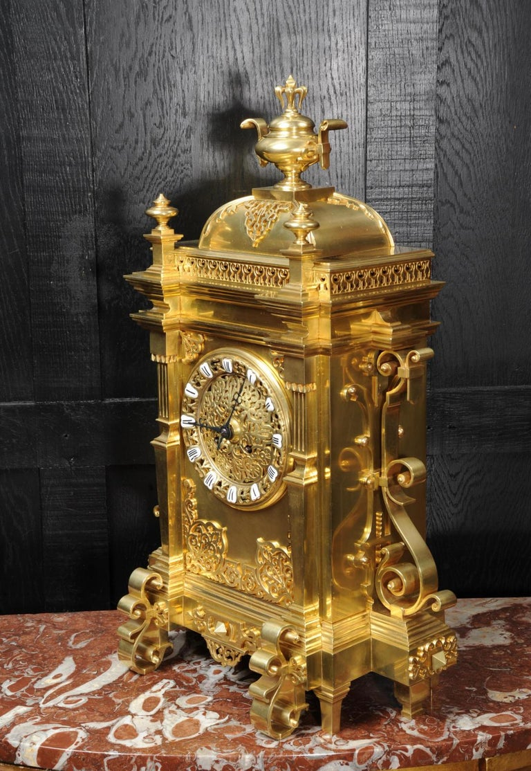 19th Century Large Antique French Gothic Gilt Bronze Clock