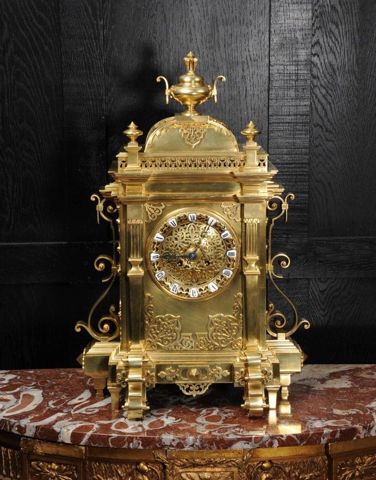 Large Antique French Gothic Gilt Bronze Clock 1