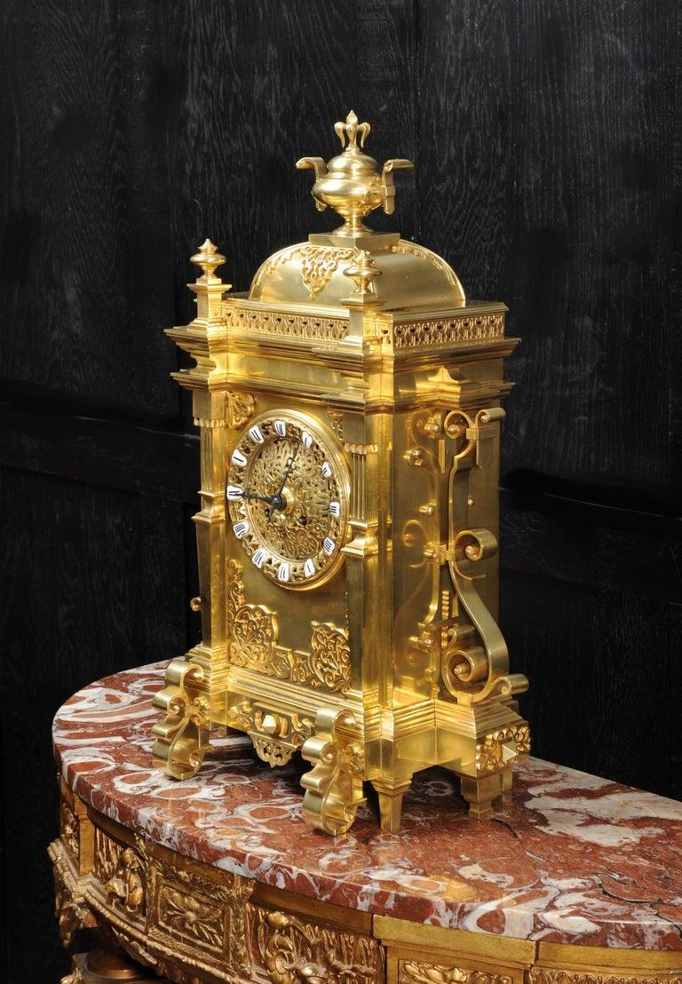 Large Antique French Gothic Gilt Bronze Clock 2
