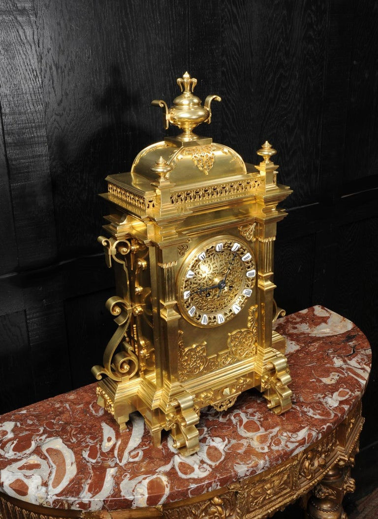 Large Antique French Gothic Gilt Bronze Clock 3