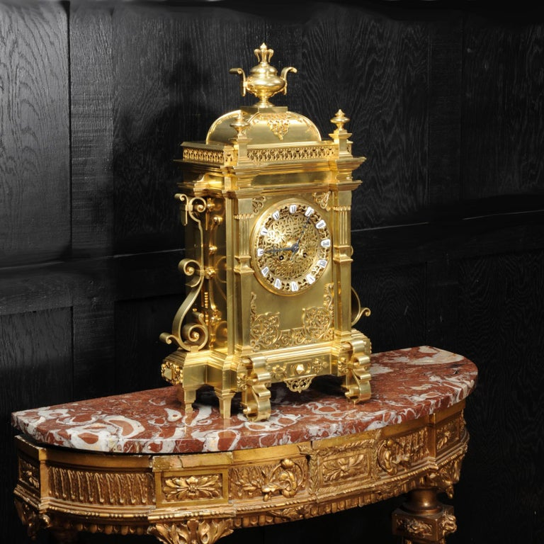 Large Antique French Gothic Gilt Bronze Clock 4