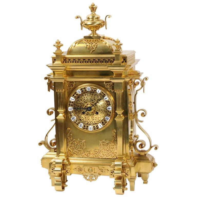 Large Antique French Gothic Gilt Bronze Clock
