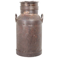 Large Antique French Iron Milk Container, 19th Century
