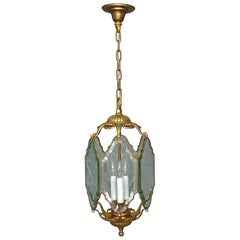 Large Antique French Lantern Lamp Faceted Crystal Glass Bronze Brass 1880 - 1900