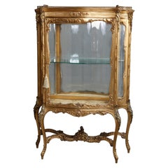 Large Antique French Louis XIV Giltwood Bent Glass & Mirrored Vitrine circa 1870