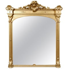 Large Antique French Louis XIV Giltwood over Mantel Mirror, 19th Century