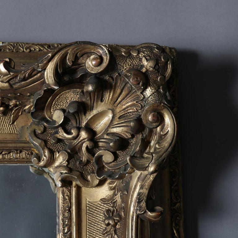 Large Antique French Louis XIV Style Carved Giltwood Wall Mirror, 19th Century In Good Condition For Sale In Big Flats, NY