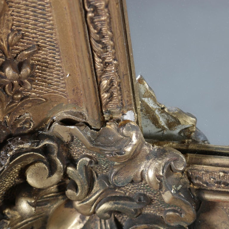 Large Antique French Louis XIV Style Carved Giltwood Wall Mirror, 19th Century For Sale 4