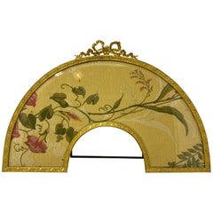 Large Antique French Louis XV Style Flame Gilded Bronze Fan-Shaped Picture Frame