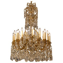 Large Antique French Louis XV Style Gilt Bronze and Crystal Baccarat Chandelier
