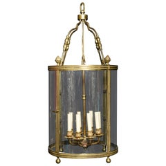 Large Antique French Gilt Bronze and Glass Multi Light Lantern