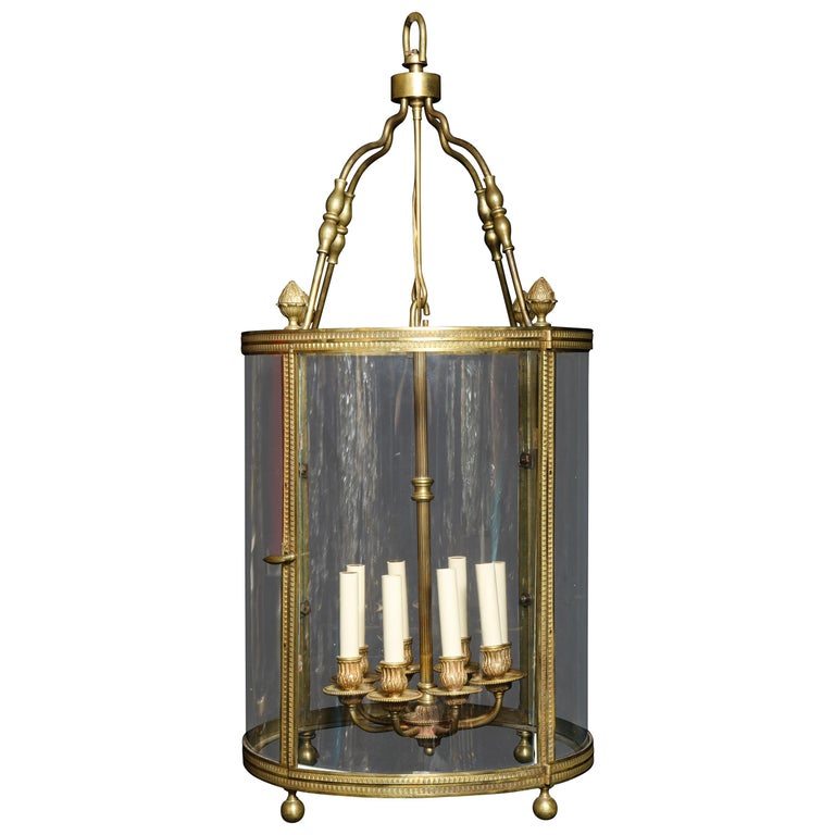 Large Antique French Gilt Bronze and Glass Multi Light Lantern For Sale