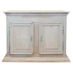 Large Antique French Oak Buffet in Greige Wash Finish