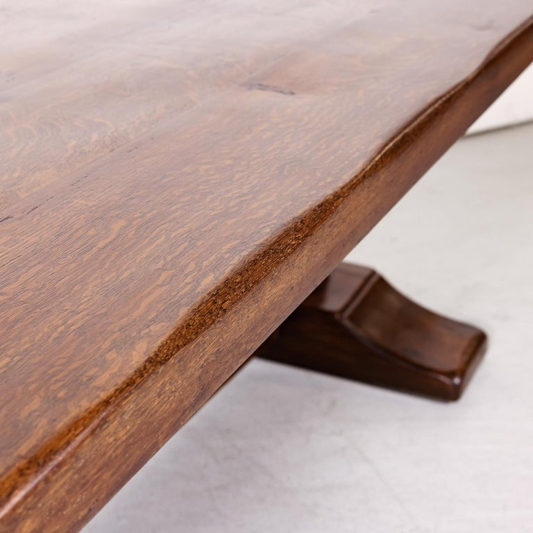 Large Antique French Oak Monastery Trestle Dining Table 6