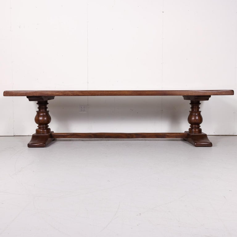 Large Antique French Oak Monastery Trestle Dining Table In Good Condition In Birmingham, AL