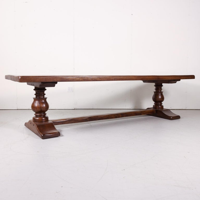 Early 20th Century Large Antique French Oak Monastery Trestle Dining Table